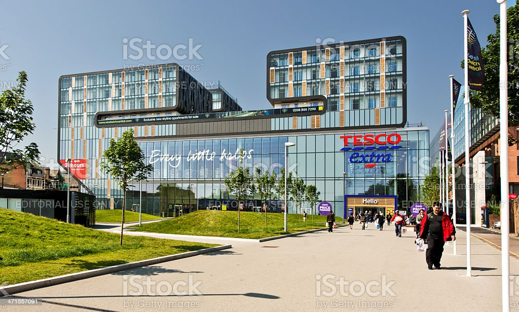 Tesco town Woolwich UK stock photo