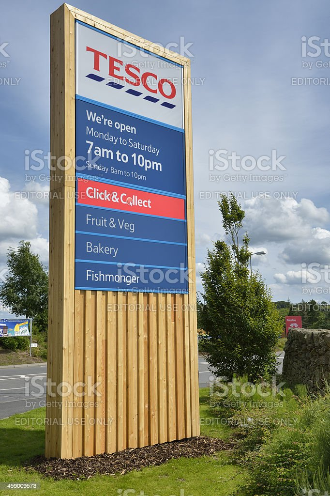 Tesco wooden clad signage stock photo