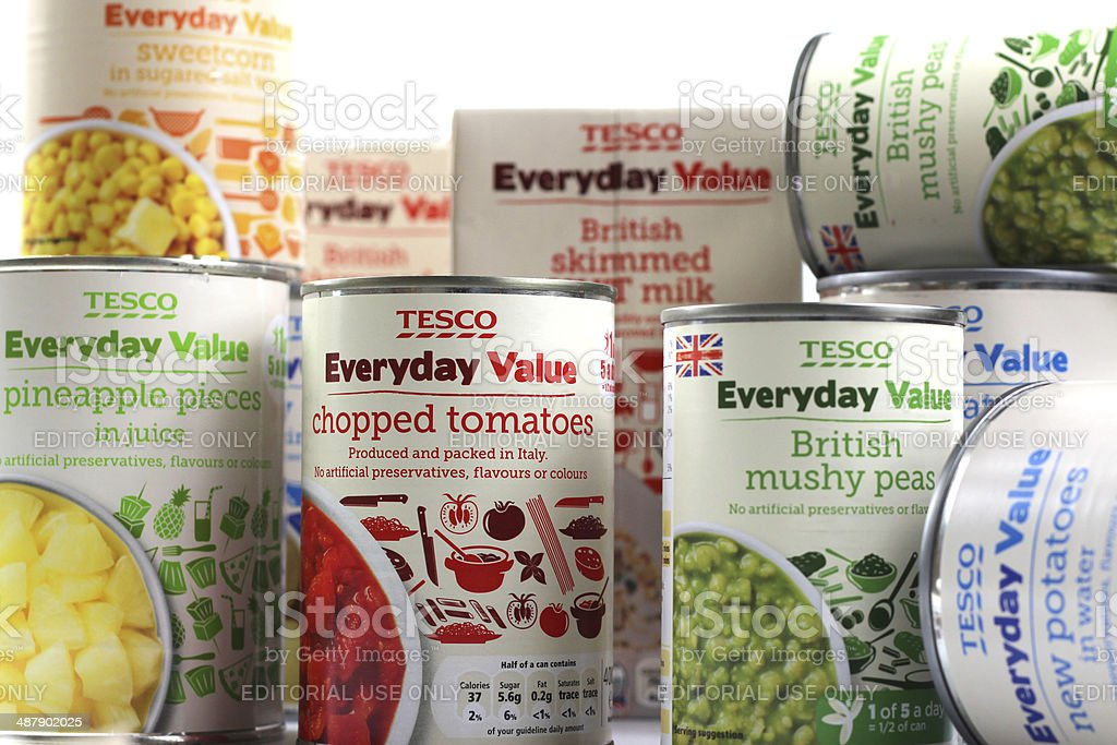 Tesco's Everyday Value range of budget food stock photo