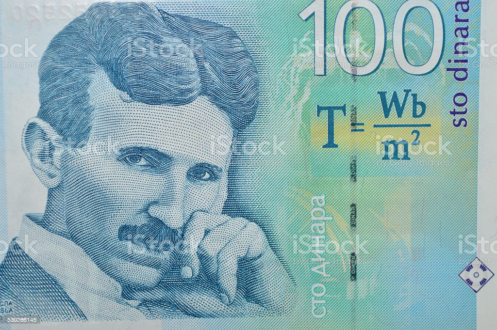 Billete de banco de tesla 100 dinar serbio foto de stock libre de derechos