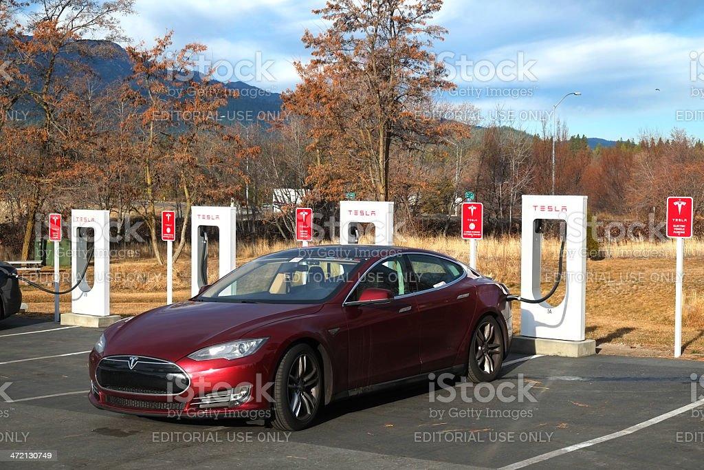 Tesla Car at Supercharger Station royalty-free stock photo