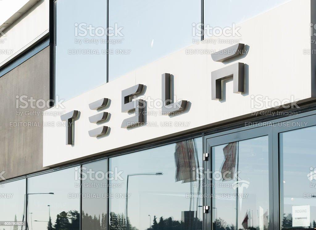Tesla car dealer entrance stock photo
