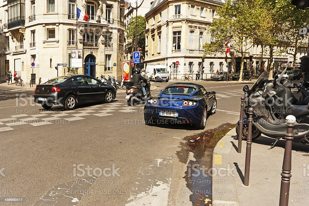 Tesla car on the streets of Paris royalty-free stock photo