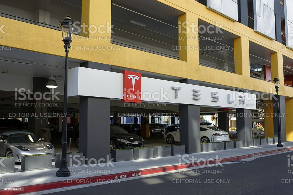 A Tesla charging station in San Jose, California stock photo