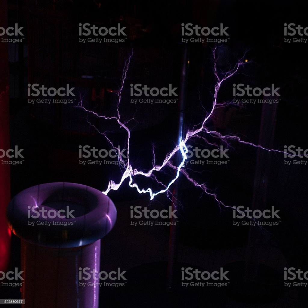 Tesla coil with electrical sparks stock photo