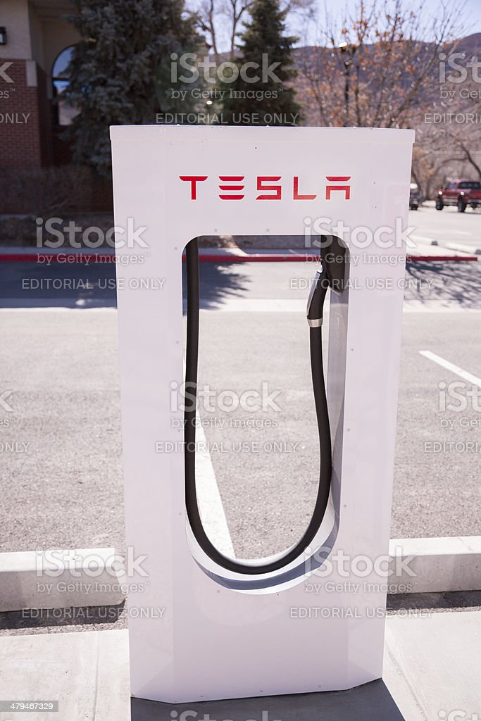Tesla Electric Car Fuel Station royalty-free stock photo
