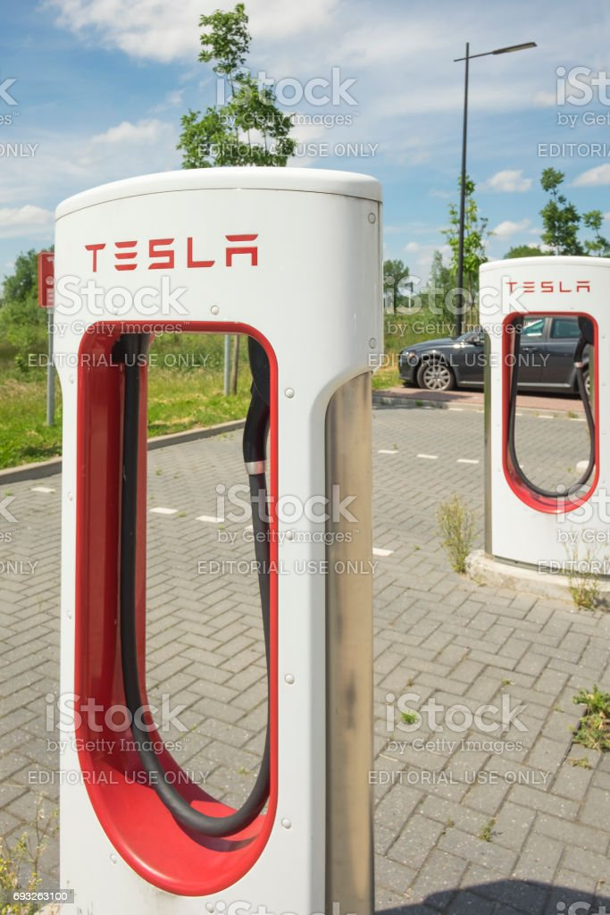 Tesla Electric Car Supercharger Charging Station stock photo