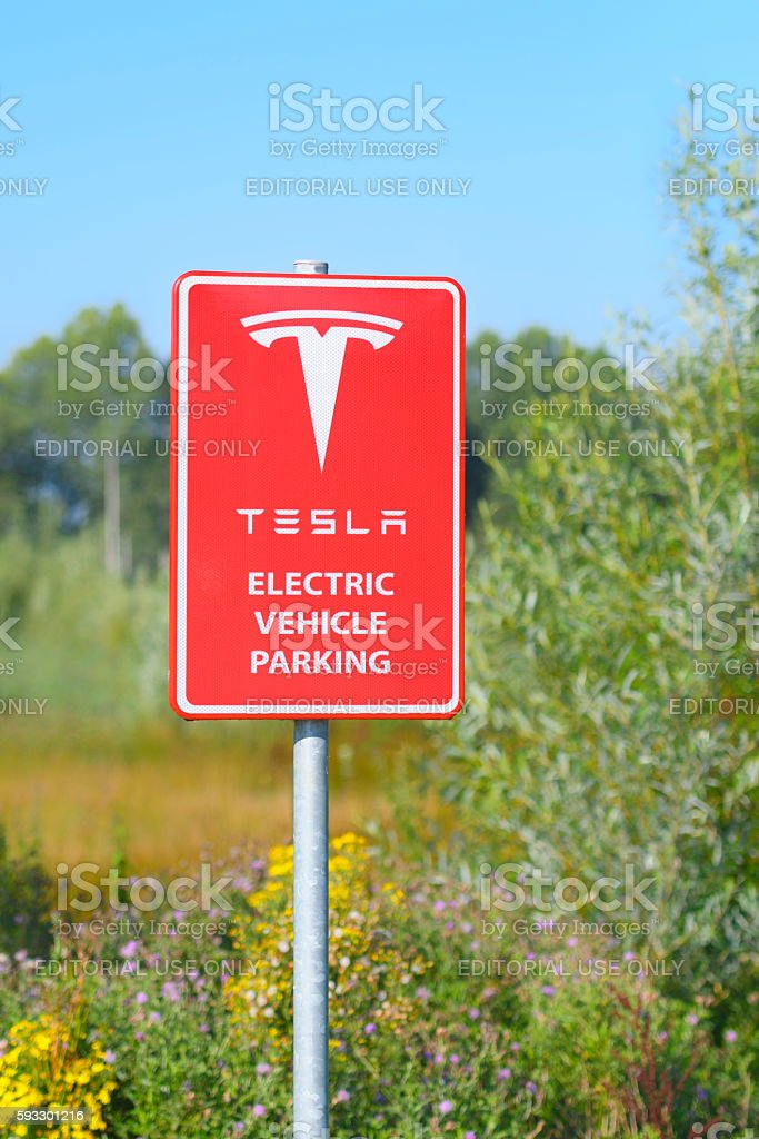 Tesla Electric Car Supercharger Charging Station Sign stock photo