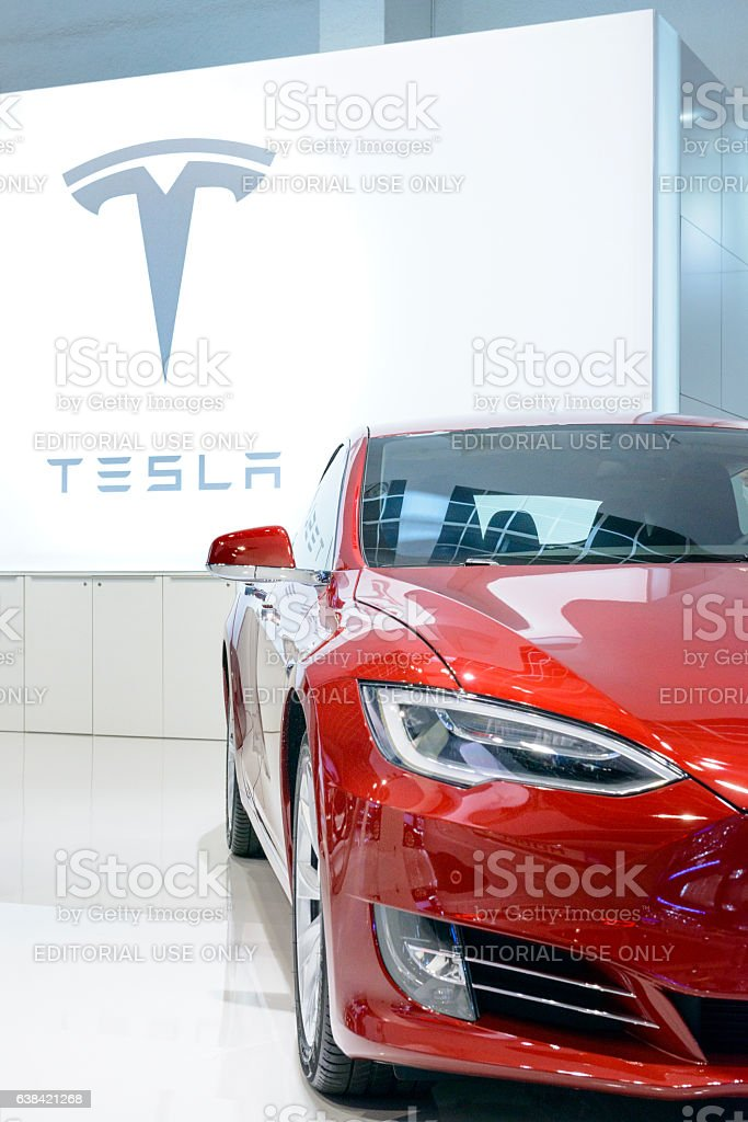 Tesla Model S 75D all-electric luxury saloon car front view stock photo