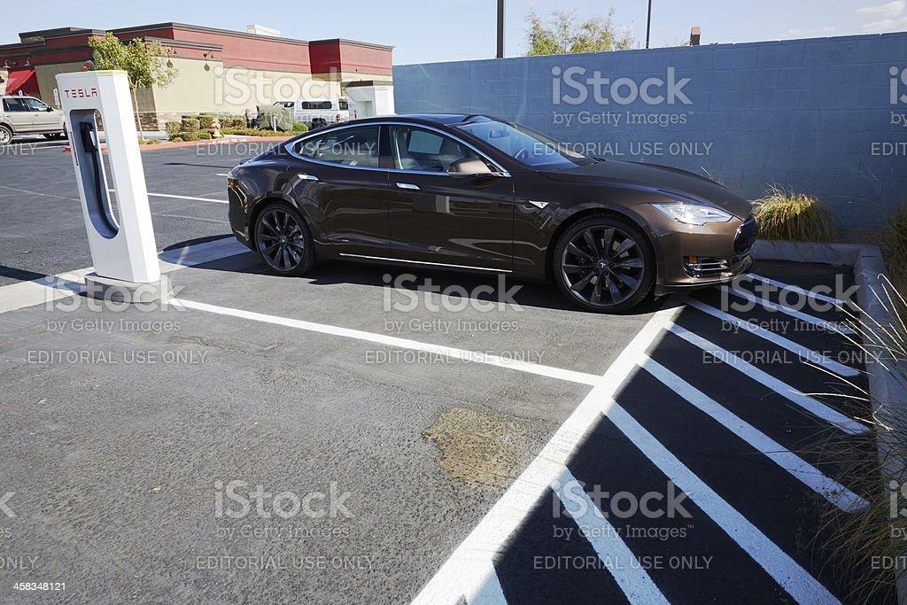 Tesla Model S at Supercharging Station, Barstow, California royalty-free stock photo