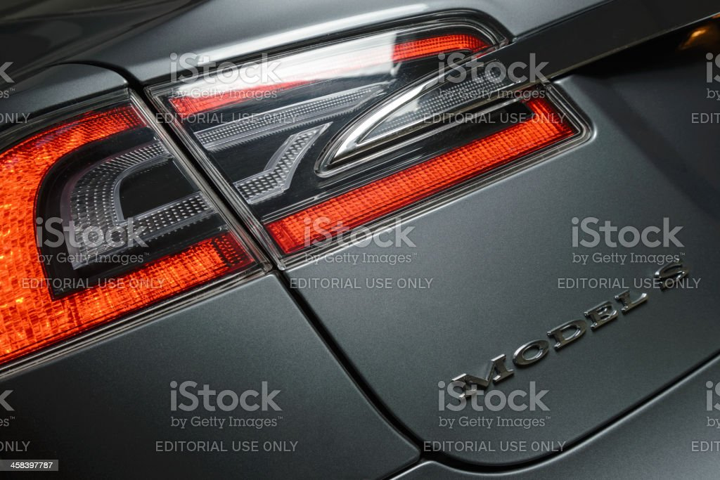 Tesla Model S Badge and Tail Light. stock photo