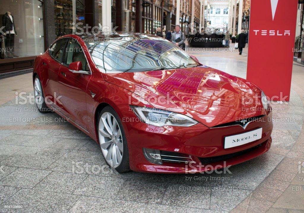 Tesla Model S Electric Car, Victoria Quarter Shopping Centre, Leeds stock photo