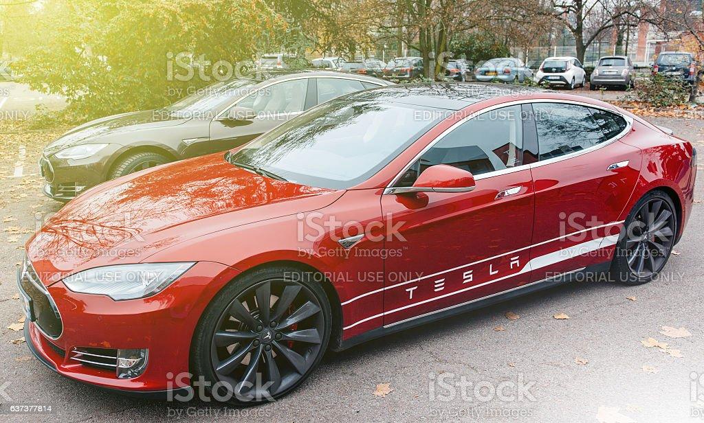 Tesla Model S electric car zero emissions stock photo