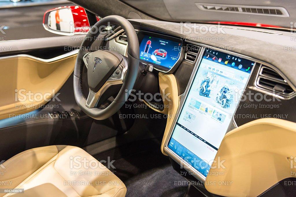 Tesla Model S electric luxury interior stock photo