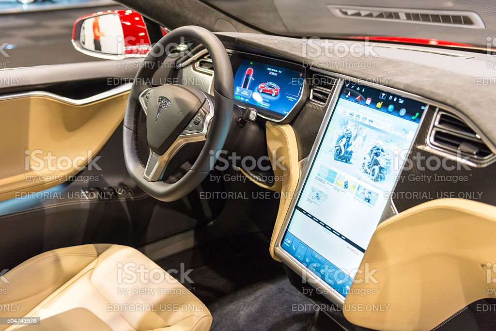 Tesla Model S electric luxury interior stock photo