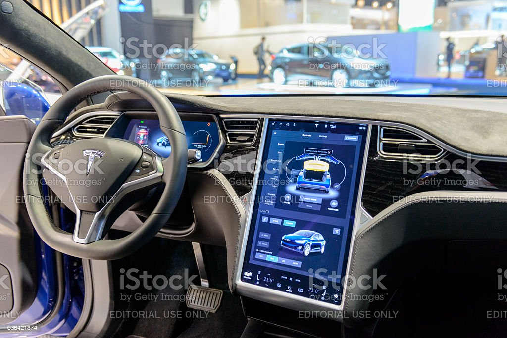 Tesla Model X 90D electric luxury high tech interior stock photo