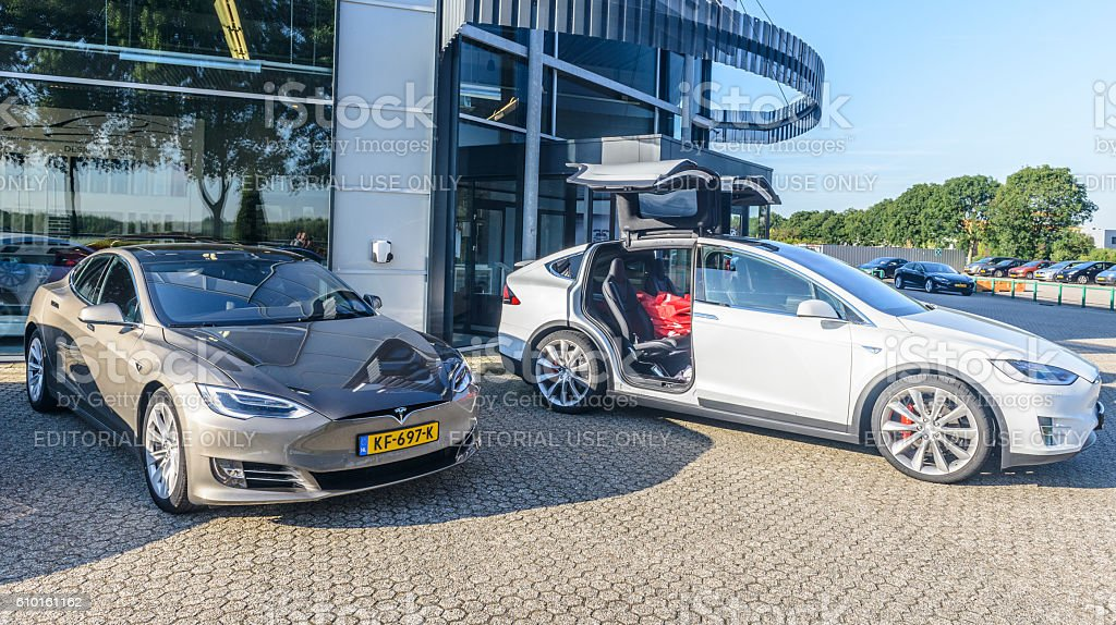 Tesla Model X P90D and Model S all-electric crossover cars stock photo