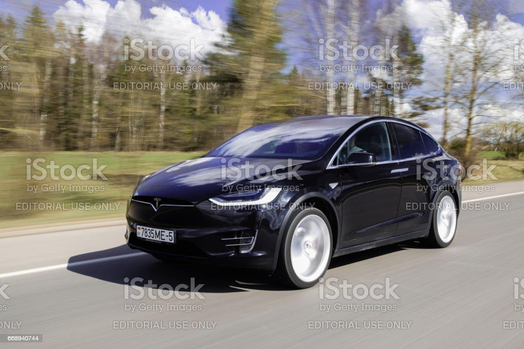 Tesla Model X P90D stock photo