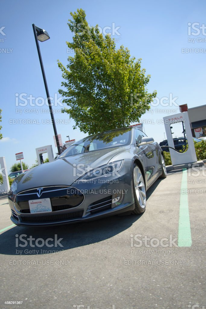 Tesla Motors Model S Charging At Burlington Washington Supercharger stock photo