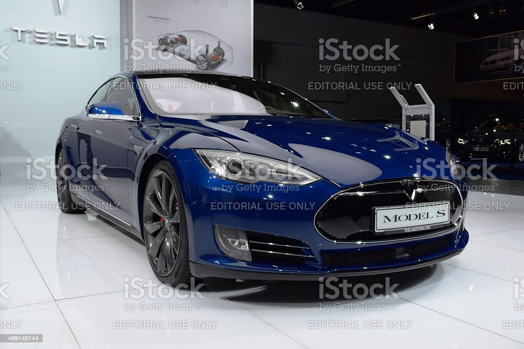 Tesla on the motor show stock photo