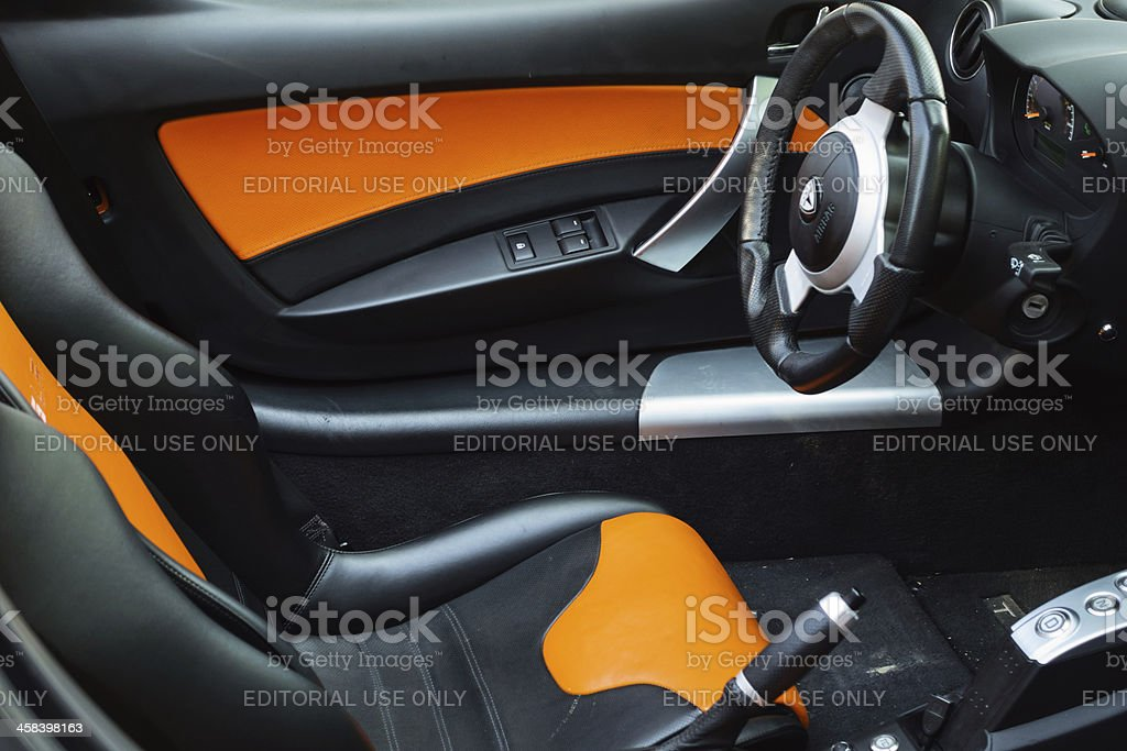 Tesla Roadster Electric Sports Car Interior royalty-free stock photo