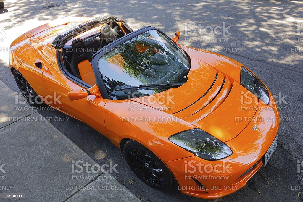 Tesla Roadster Electric Sports Car royalty-free stock photo