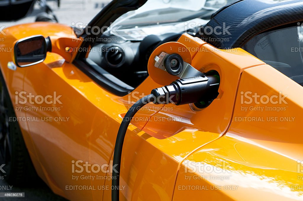 Tesla Roadster Sport - Car powered by electricity stock photo