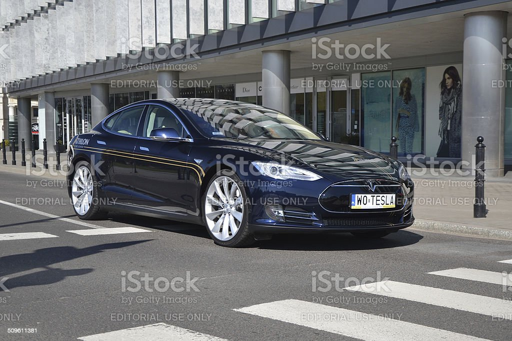 Tesla S 85 at the street stock photo