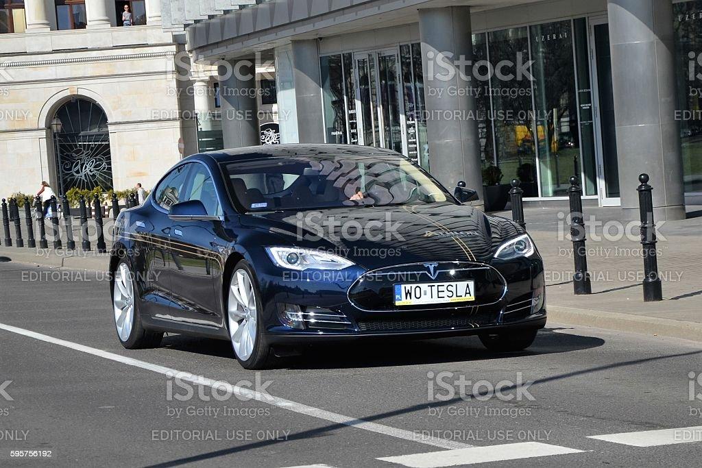 Tesla S 85 in motion stock photo