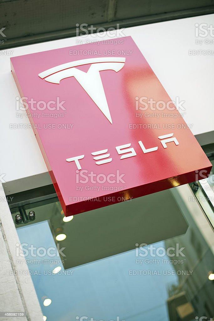 Tesla sign stock photo