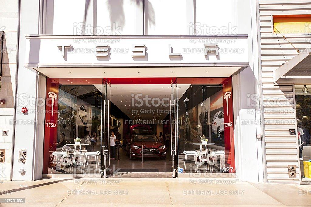 Tesla Store on Third Street Promenade, Santa Monica, USA royalty-free stock photo
