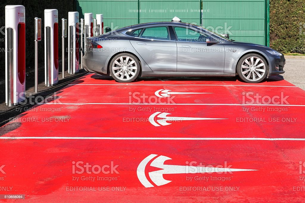 Tesla supercharger station and parking in Lyon stock photo