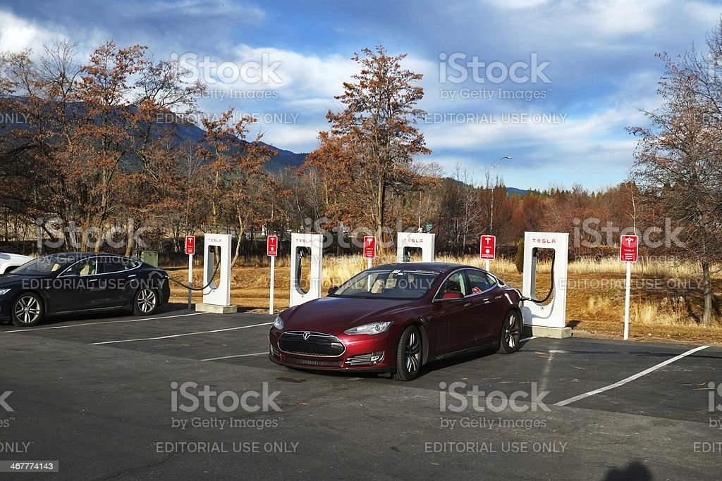 Tesla Supercharger Station in Mount Shasta royalty-free stock photo