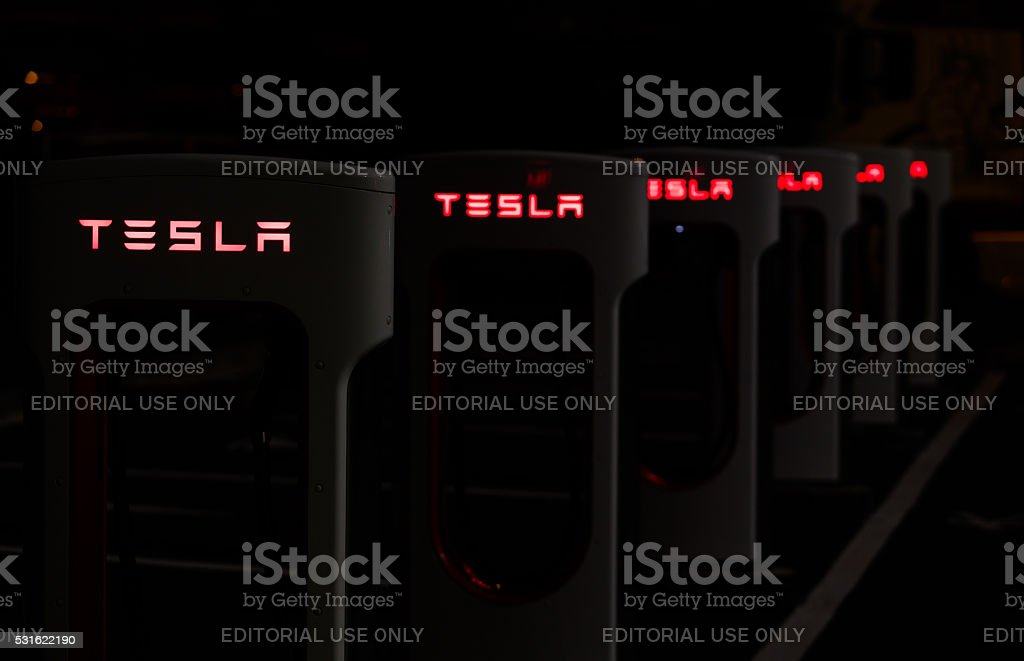 Tesla Supercharger station stock photo