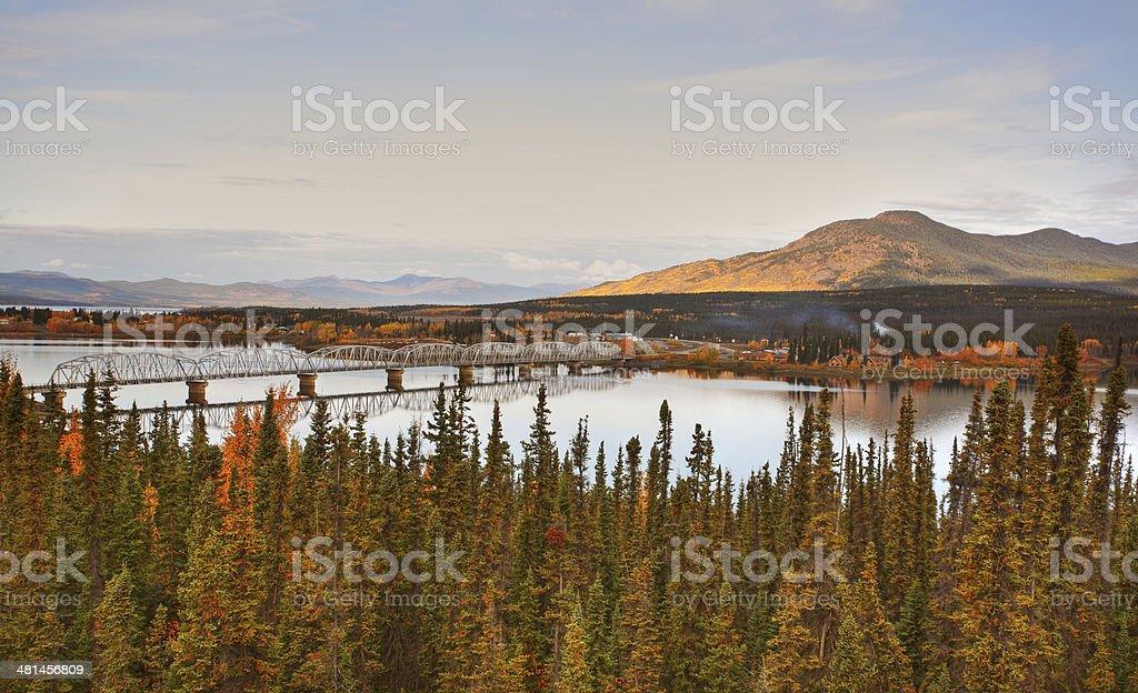 Teslin Lake bridge on Alaska Highway stock photo