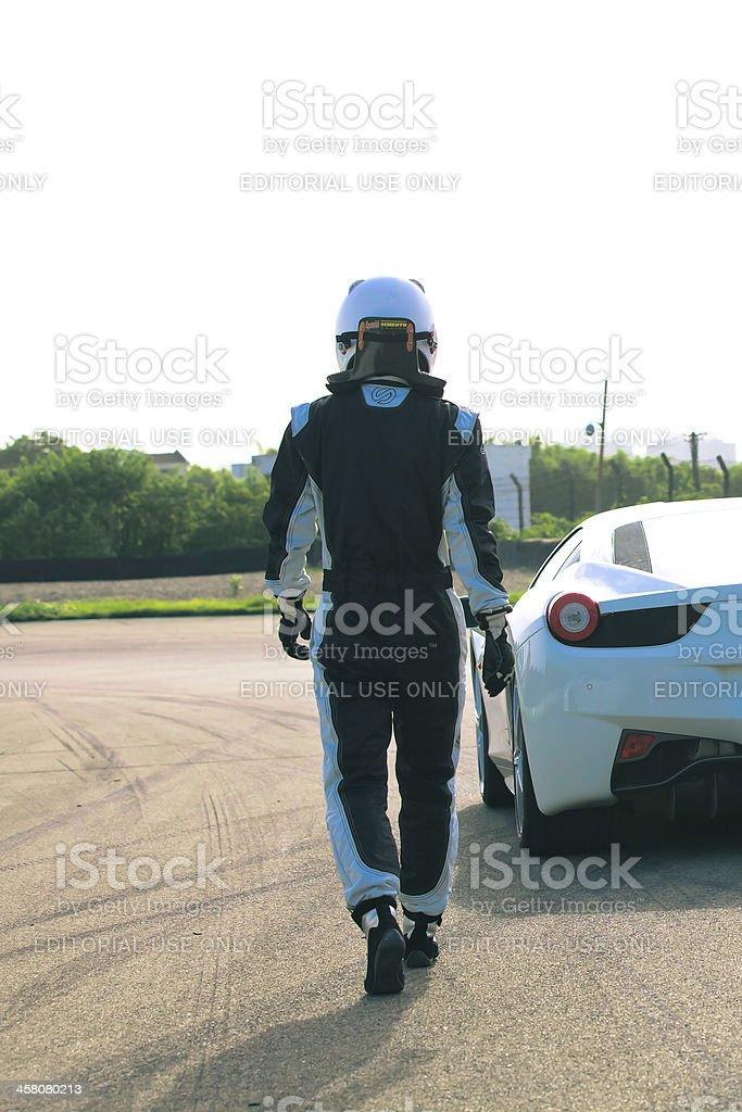 test driving Ferrari 458 Italia stock photo
