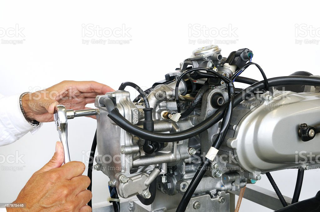Test of bike engine stock photo