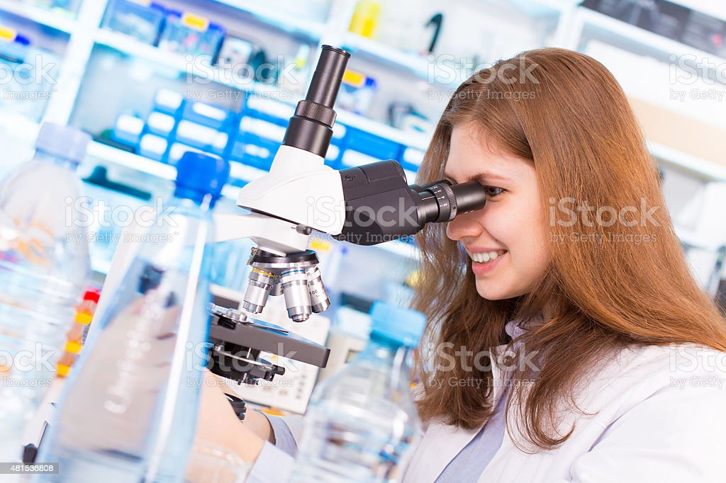 Test of portable water in laboratory stock photo