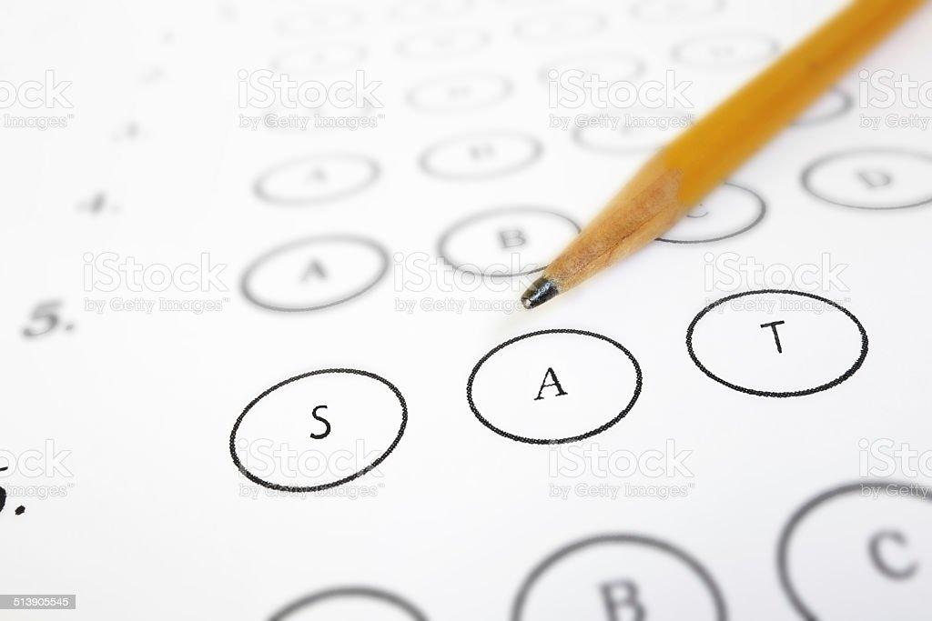 SAT test sheet stock photo