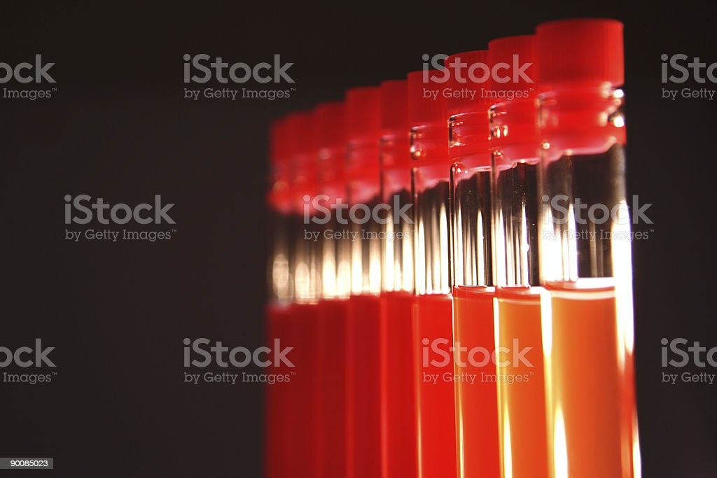 Test tube in full black background royalty-free stock photo