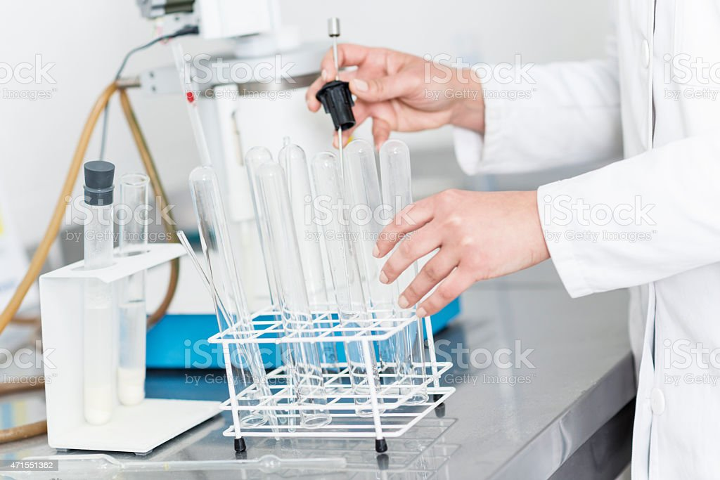 Test Tube Rack in Biotechnology labratory for Food Testing stock photo