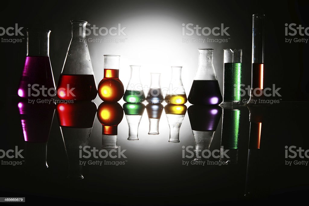 Test tube Scene beakers stock photo