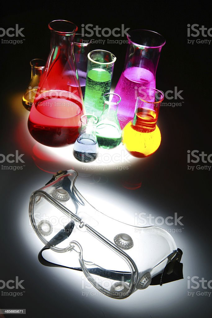 Test tube Scene labor safety glasses stock photo