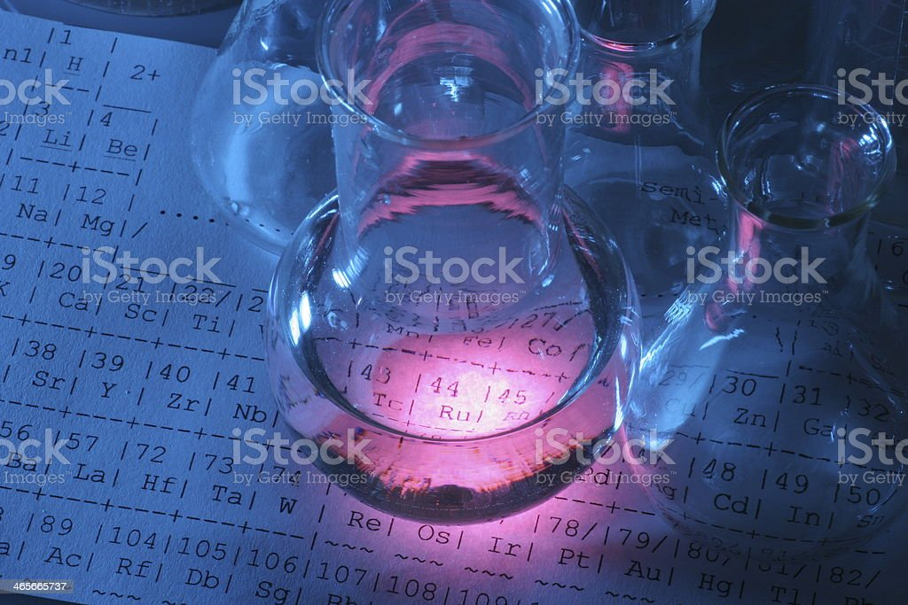 Test tube Scene with periodic system table stock photo