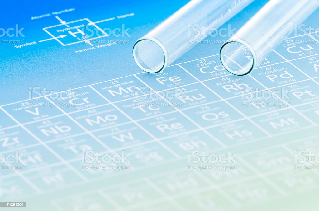 Test tubes and periodic table of elements. stock photo