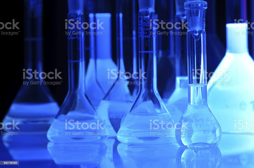 test tubes in blue light royalty-free stock photo