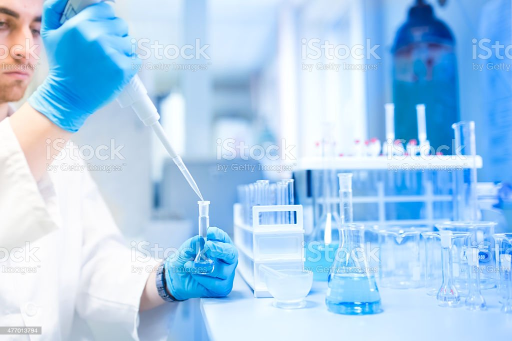 Test tubes in clinic, pharmacy and medical research laboratory stock photo