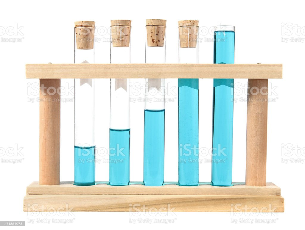 Test tubes in wooden rack show growth royalty-free stock photo