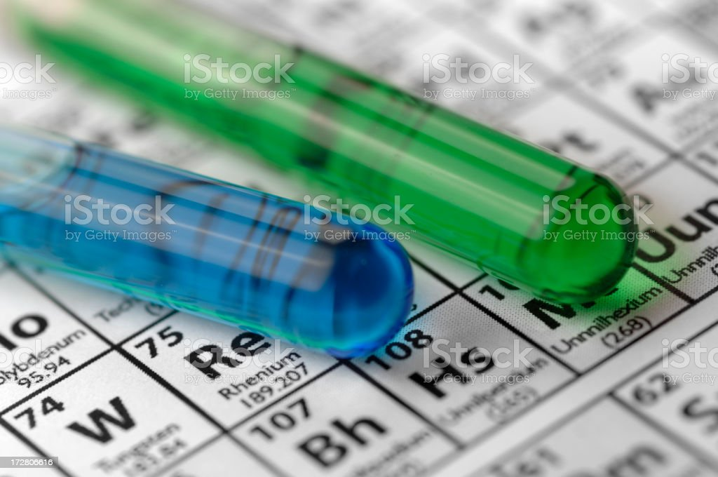 Test Tubes Lying on Periodic Table royalty-free stock photo