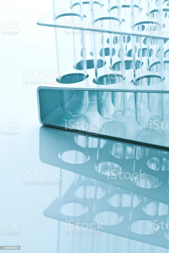 Test tubes tinted blue stock photo